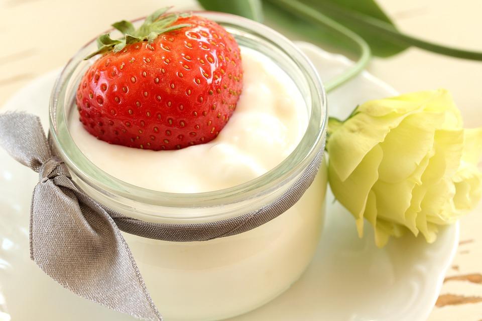 Fit, Dessert, Yogurt With Strawberries, Health, Diet