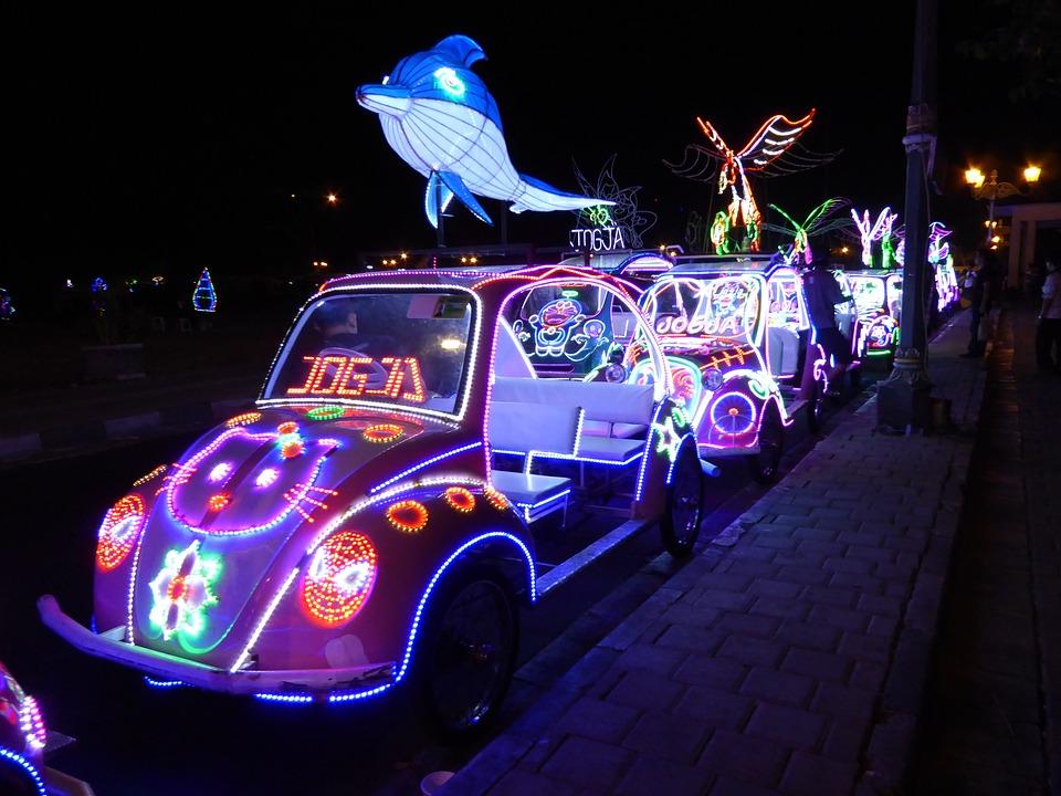 Yogyakarta, Car, Dolphin, Indonesia, Colorful, Asia