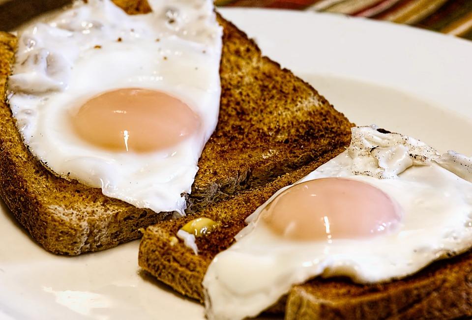 Fried Eggs, Breakfast, Toast, Food, Egg, Yolk, Morning
