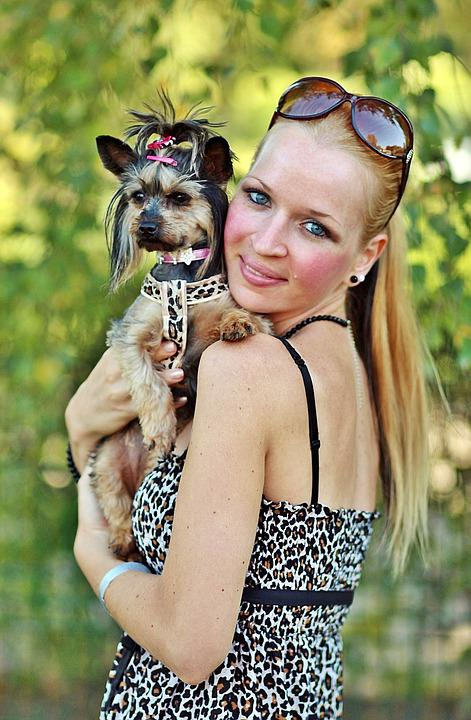 Blonde Woman, Pretty, Yorkie, Dog, Love