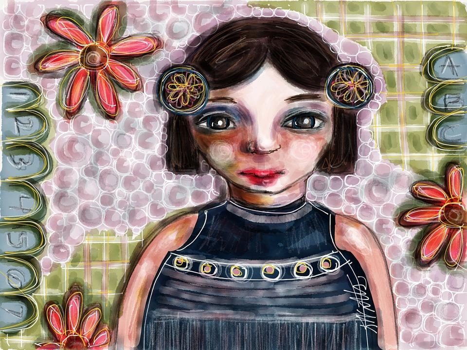 Girl, Art, Woman, Face, Female, Hair, Young, Portrait