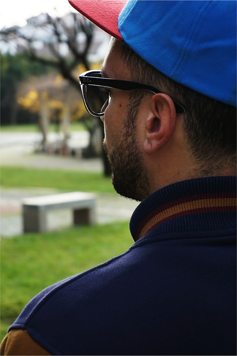 Man, Male, Back View, Young, Profile Man, Cap, Glasses