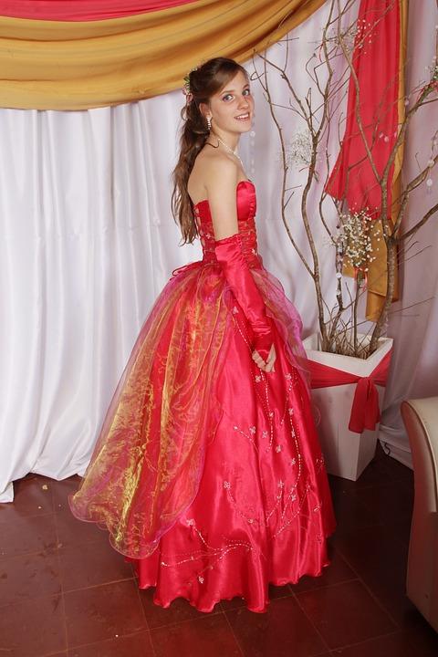 Elegance, Dress, Coral, Litmus, Blonde, Girl, Young