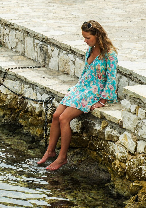 Girl, Feet, Water, Dabble, Female, Young, Foot