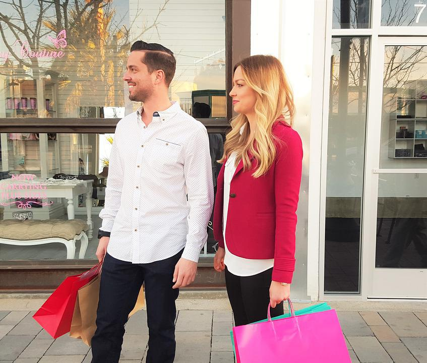 Shopping, Happy Customers, Young Woman, Young Man