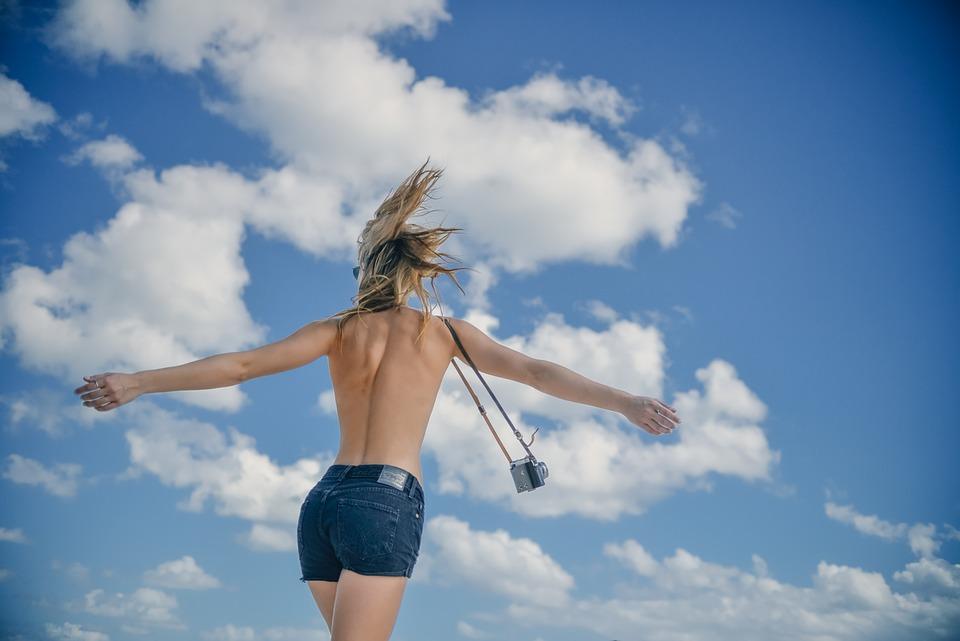 Girl, Young, Woman, Back, Slim, Topless, Pants, Camera