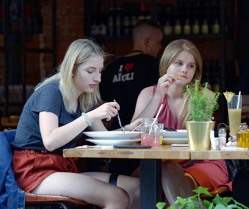 Girls, Young, Restaurant, Terrace, People, Table, Food