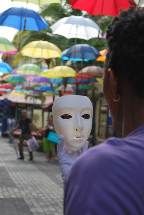 Mask, Street, Umbrellas, Performance, Young, Person