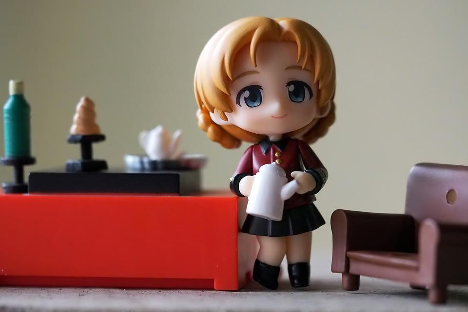 Toy, Figurine, Young, Lady, Tea, Pot, Japanese, Anime