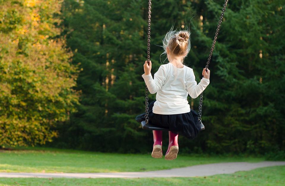 Girl, Swing, Rocking, Autumn, Fall, Green, Trees, Young