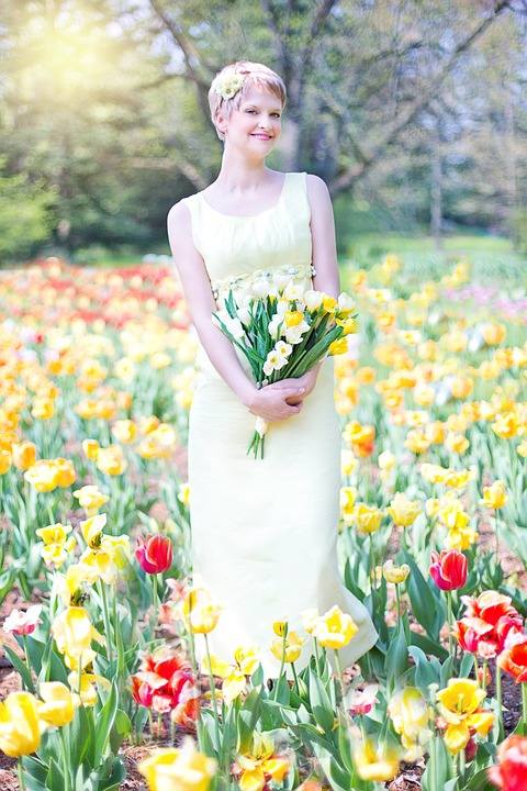 Field Of Tulips, Young Woman, Pretty, Spring, Joy