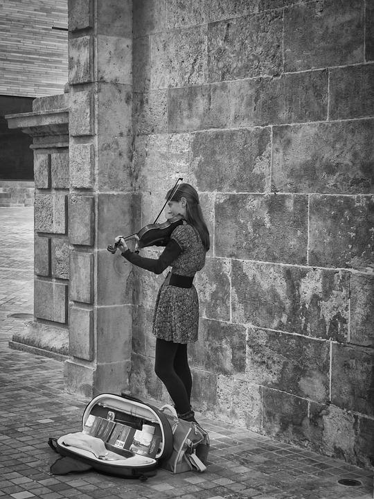 Girl, Music, Street, Violin, Young, Woman, Young Woman