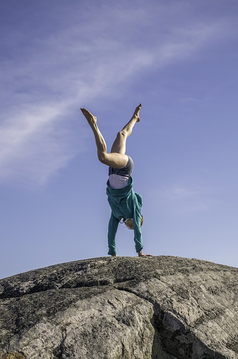 Handstand, Young Woman, Windy, Brave, Bold, Gymnast