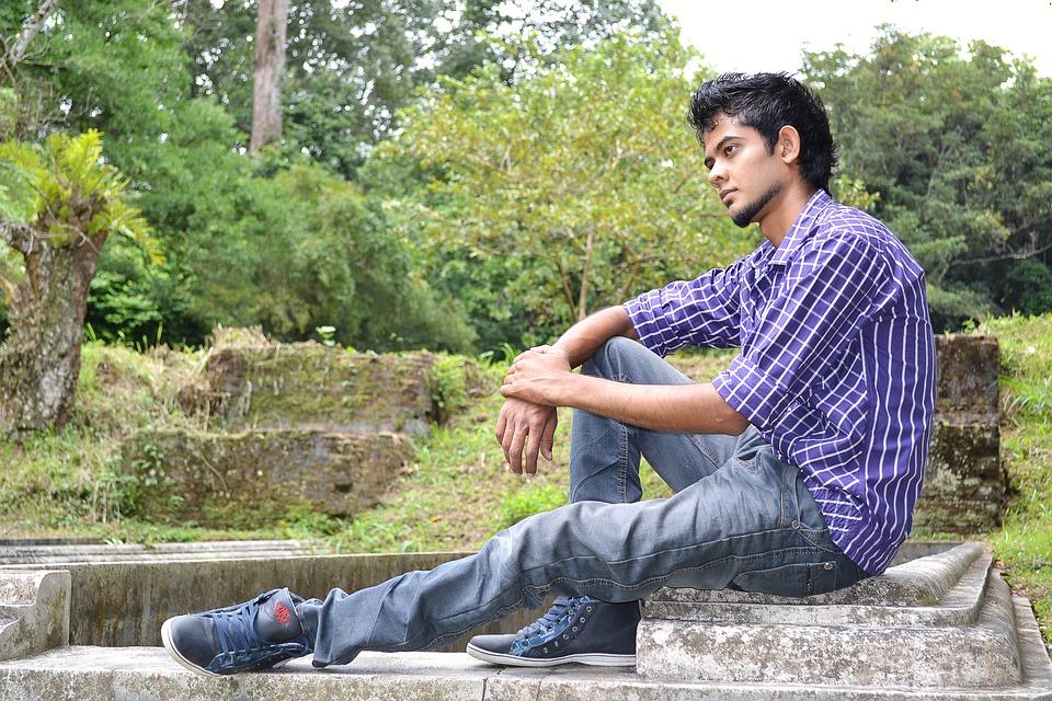 Moody, Sad, Lonely, Youth, Sri Lankan, Boy, Jeans