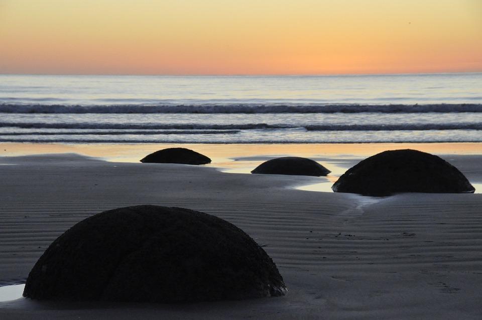 Moeraki Boulders, Landscape, Beach, Ocean, New, Zealand