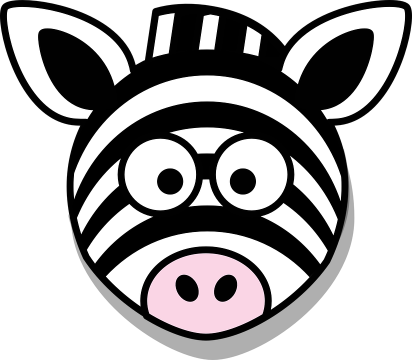 Zebra, Head, Stupid, Cartoon, Black, White, Round, Zoo