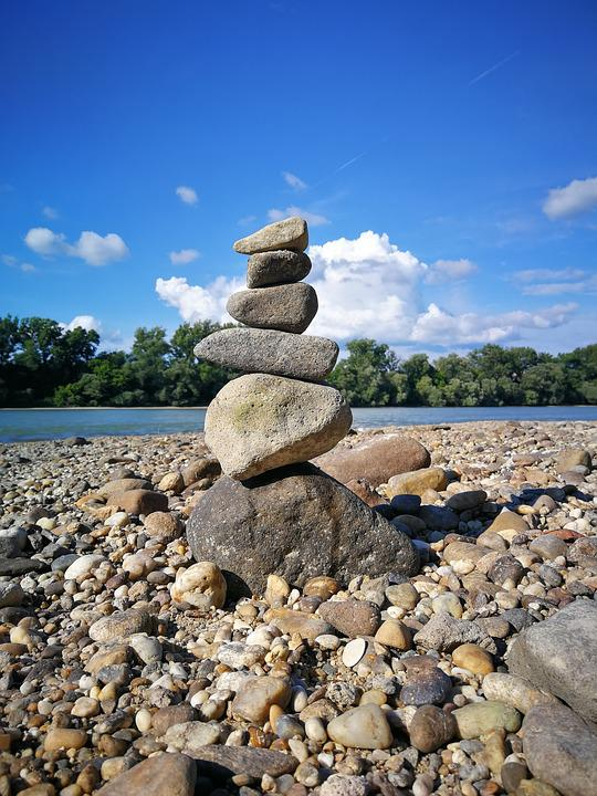 Zen, Beach, Waterfront, Harmony, Serenity, Peace, Stone