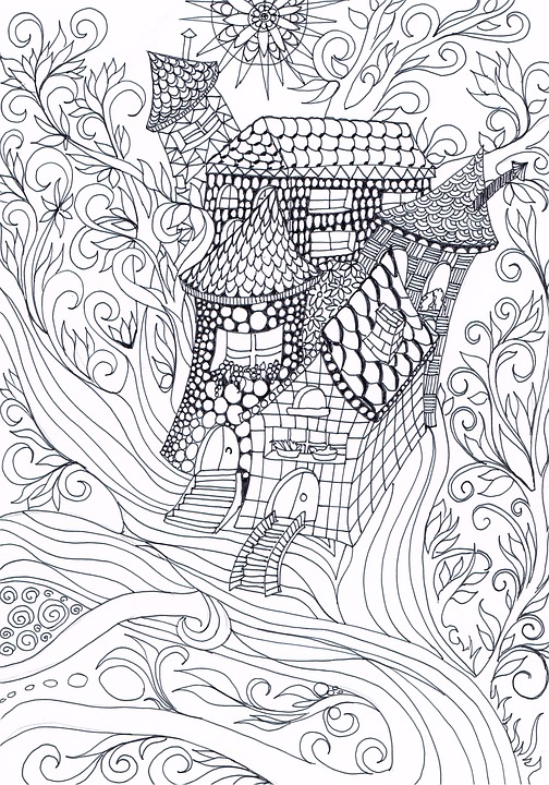 Zentangle, Treehouse, Drawing