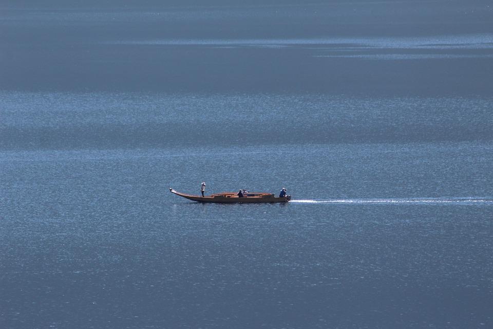 Lake, Hallstättersee Lake, Zille, Boat
