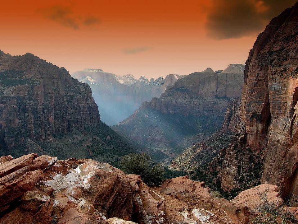Zion Park, Utah, Mountains, Landscape, Scenic, Sunset