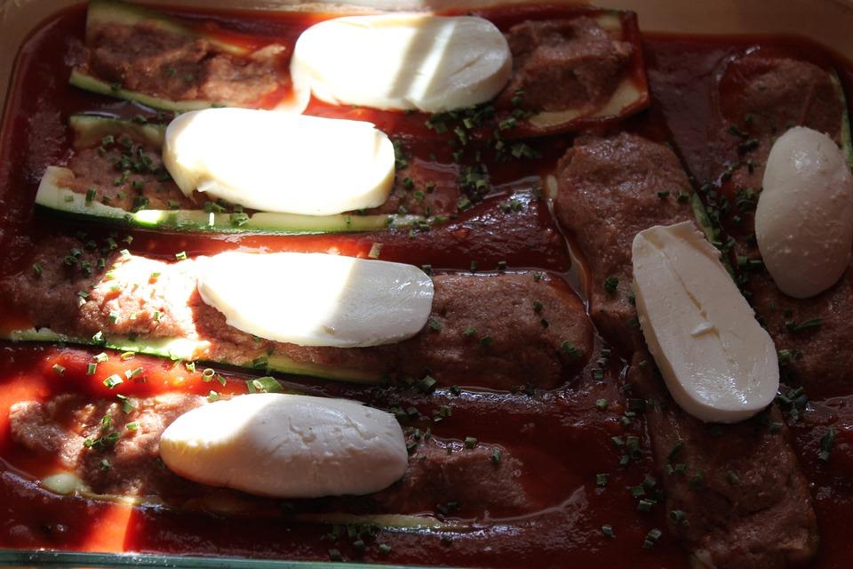 Tomato Sauce, Zucchini, Mozzarella, Zucchini Boats