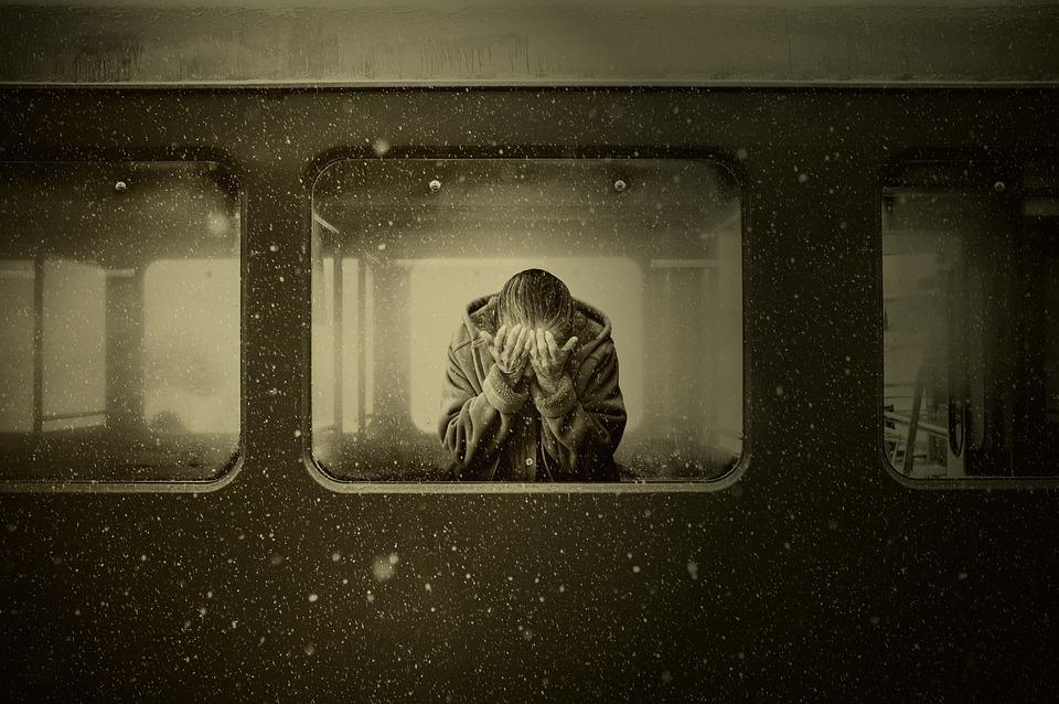 Woman, Train, Zugabteil, Farewell, Mourning, Despair