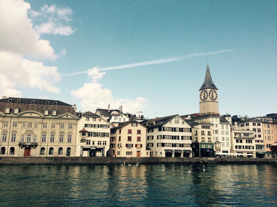 Zurich, Limmath, River, St Peter's Church, Church, Sky