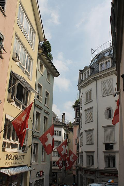 Zurich, Switzerland, Flag, Town, Europe, Tourism, Swiss