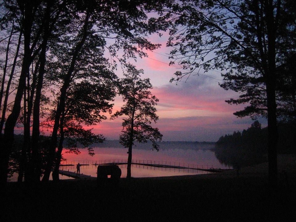 Lake, After Sunset, Sun, łukcze