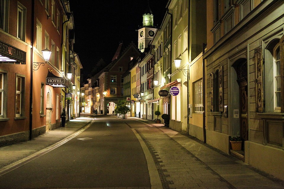 überlingen, Lake Constance, Old Town, Night