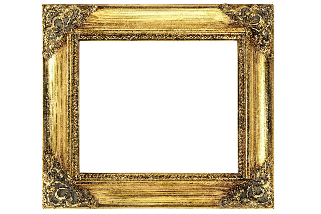 free photo antique gilded gold empty wood frame