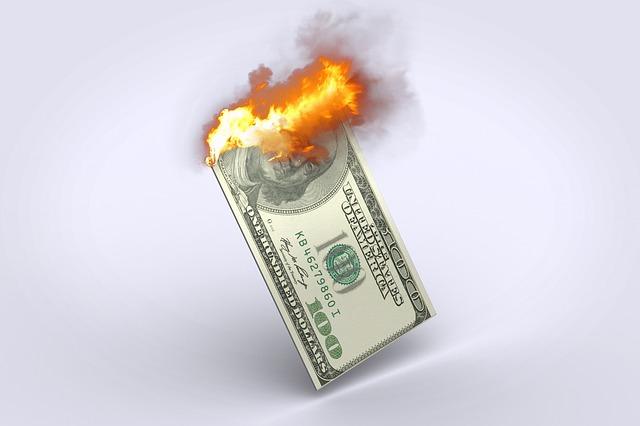Dollar, 100 Dollar Bill, Dollar Burning, Money