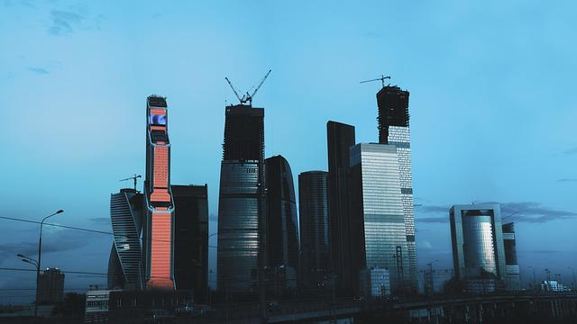 Moscow City, 2017, Big Size, Moscow, Glass, Blue