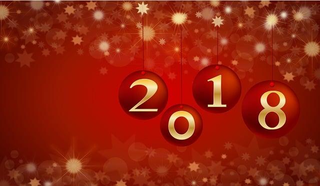 New Year, 2018, Card, Celebration, Decoration, Happy