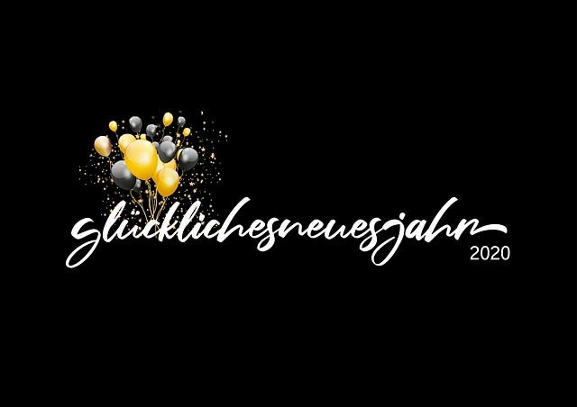 Happy New Year, 2020, Lettering, Black, Gold