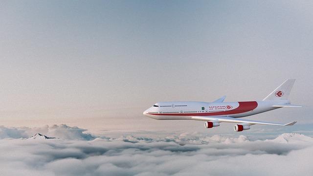 Airplane, Could, Sky, Airline, Air Algeria, Cg, 3d