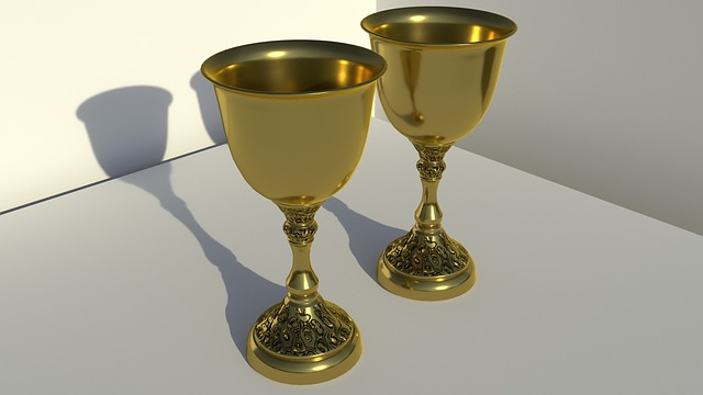 Chalices, Gold, 3d, Rendering, Traditional, Church