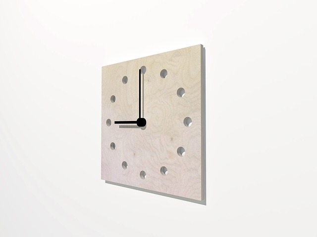 Wall, Clock, Wood, 3d