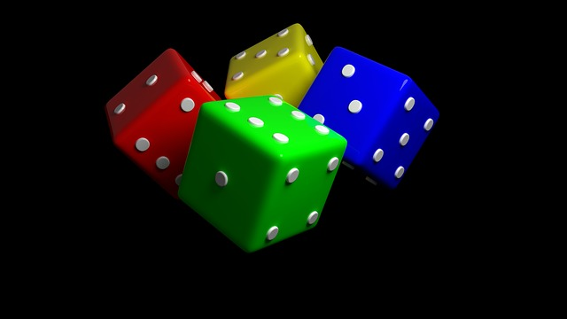 Dice, 3d Dice, 3d, 4 Dice, Green, Red Blue, Yellow