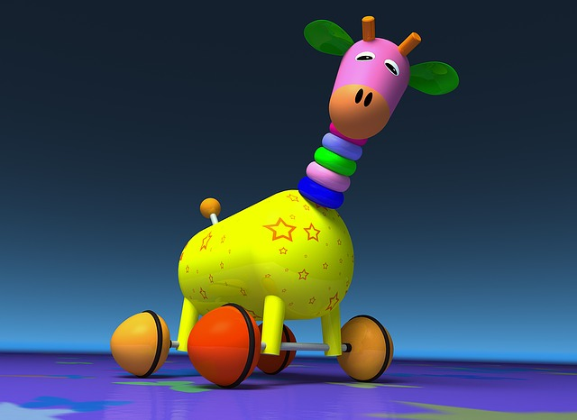 Giraffe, Toy, Wheel, Colors, Graphics, 3d, Colorful