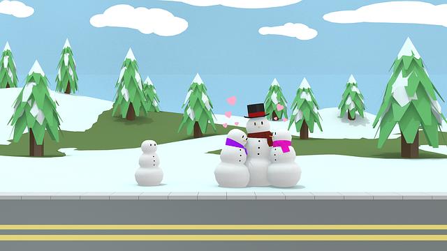 Snowmen, Family, Christmas, Low Poly, Blender, 3d
