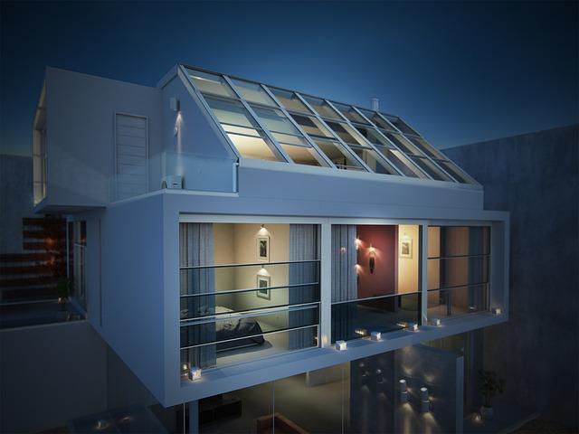 Villa, Roof, 3d, Photorealism, Performance, Evening