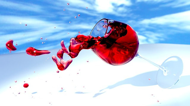 Wine, Wine Glass, Red Wine, Tipping Over, Spill, 3d