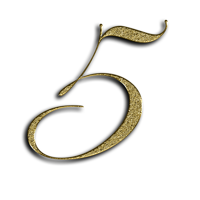 Number, 5, Gold, Font, Training, Five, Learn, Golden