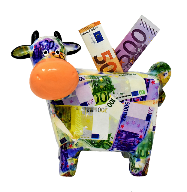 Piggy Bank, Money, Cow, Dollar Bill, 500 Euro, 50 Euro