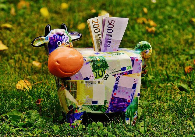Piggy Bank, Money, Cow, Dollar Bill, 500 Euro, Piglet