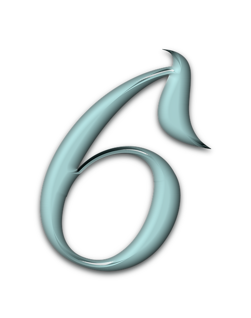 Numbers, Bevel, Aqua, Glass, Blue, 6, Six