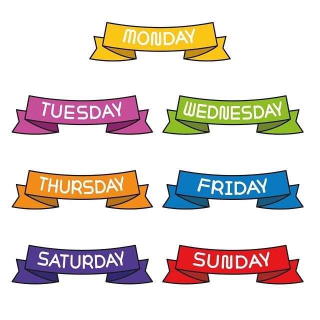 7 Days Week, Ribbon, Decorate, Monday, Tuesday