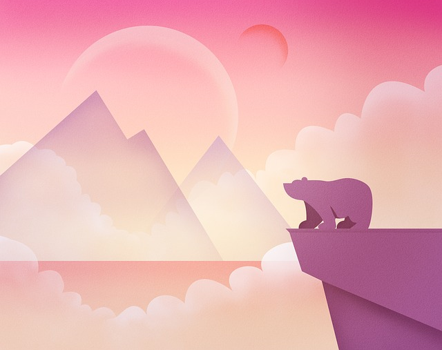 A Bear, Mountain, The Country, Pink, Orange, Fantasy