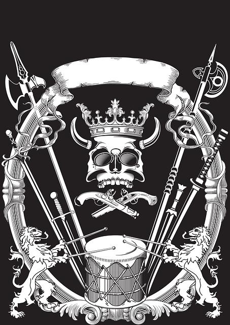 Figure, Heraldry, Skull, A Spear, Tape, Crown
